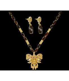 Conjunto collar y pendientes chamán y piedra ágata