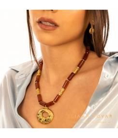 Conjunto collar y pendientes nariguera quimbaya, joyas precolombinas eliana tovar
