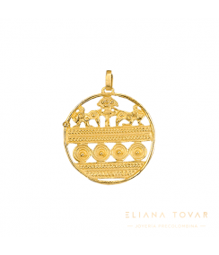 Dije Grande Medallón Sinú. Joyas Precolombinas Eliana Tovar