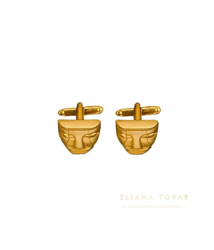 Mancornas Máscara Quimbaya, joyas precolombinas eliana tovar