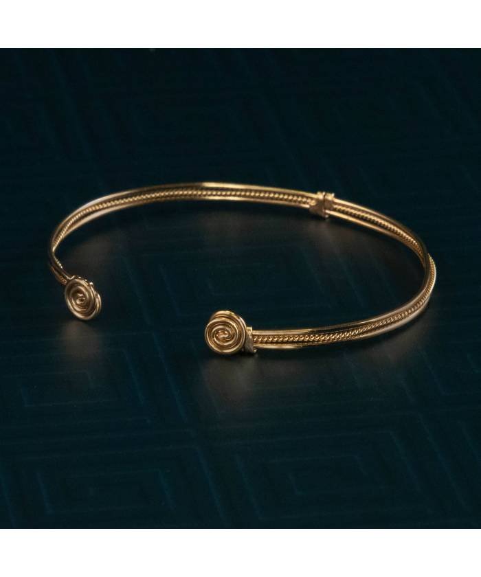 Pulsera Precolombina Espiral de la Vida ba–o de oro 24K