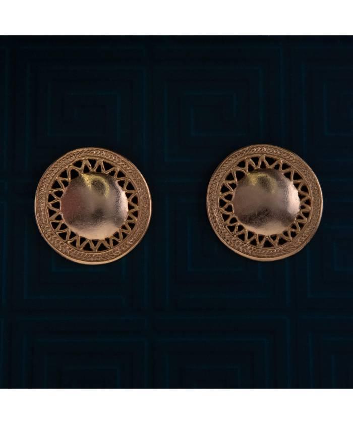 ETM76 Pendientes Precolombinos Medallón Tayrona baño de oro 24K