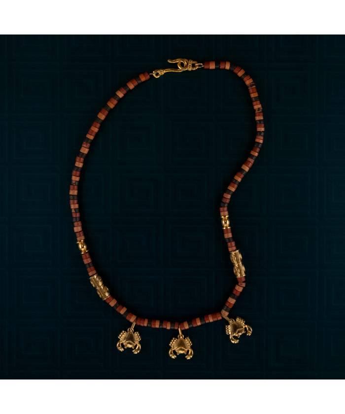 G3S+ETS  collar precolombino de Cerámica y Cangrejo baño de oro 24K