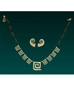 Conjunto collar y pendientes Espiral de la Vida Sinú. Joyas Precolombinas Eliana Tovar
